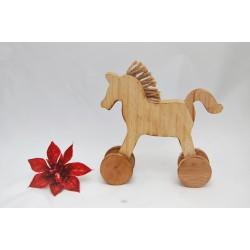 vianočný konik kolieska 16cm drevo